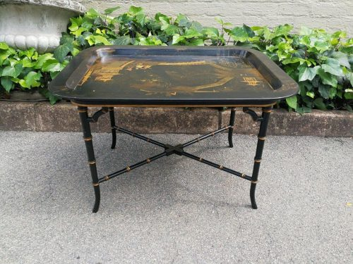 A Regency Japanned Chinoiserie Tray-On-Stand - ND