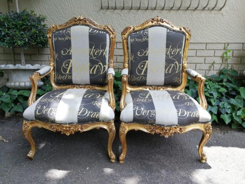 A Fine Pair Of Large Early 20th Century Carved Mahogany Armchairs
