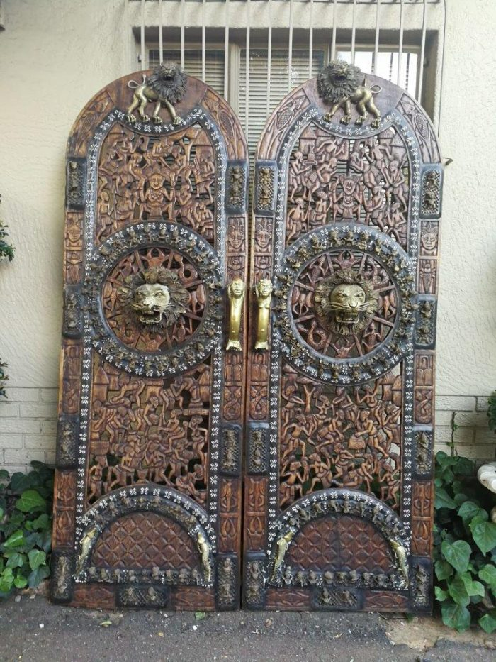 Pair Of Large Cameroon Wooden Carved And Brass Doors