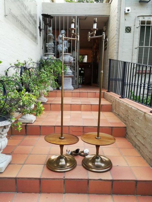A Pair Of Brass And Wood Floor Lamps