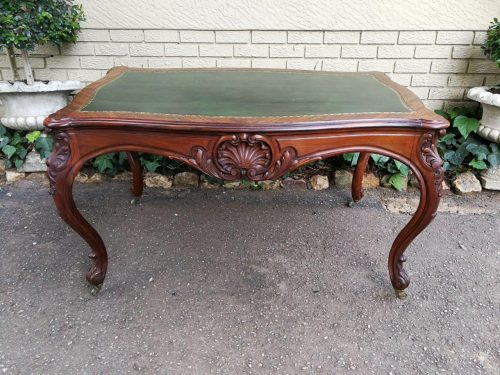 An Oak French-Style Writing Table Inlaid With Green Leather