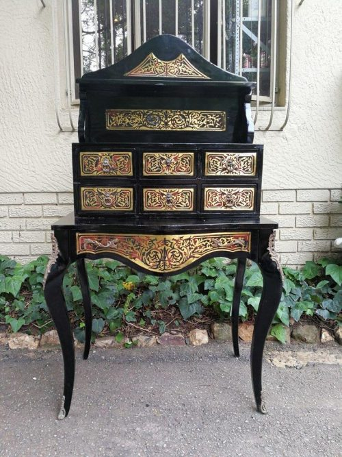 Ebonised And Brass Inlaid French Style Secretaire