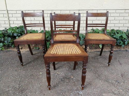 Set Of 4 Stinkwood And Cane Regency Chairs
