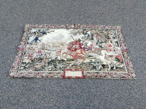 Belgium Renaissance Style Tapestry Le Roi Soleil. The Original Of This Tapestry Was Woven At The Royal Gobelins Manufactured Around 1670 And This Original Tapestry Hangs In The Chateau De Versailles