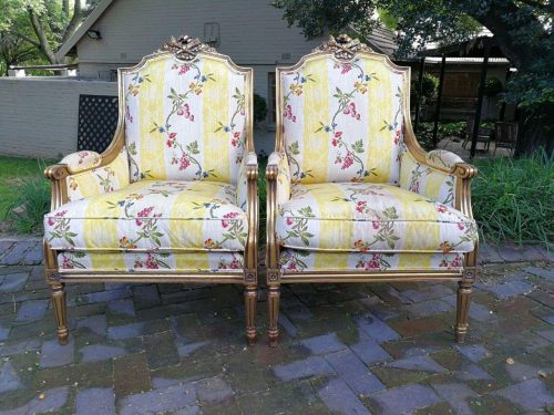 Pair Of 20th Century Gilt French Style Armchairs