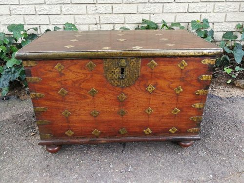 An Early 19th Century Teak And Brass Dovetailed Chest
