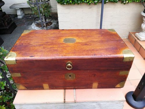 An Antique Mahogany And Brass Box