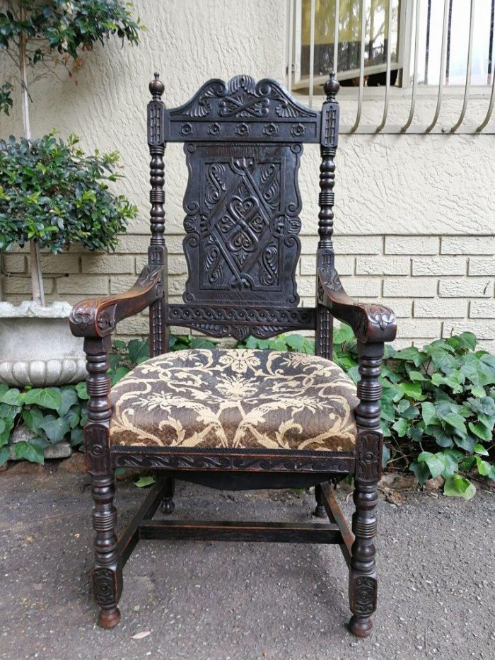 A 19th Century Continental Carved Oak Armchair