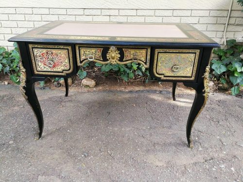 A French Boulle-Style Bureau Plat Desk With Gilt Metal Mounts