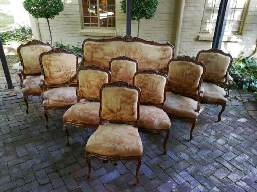 A 19th Century Carved And Gilt French Walnut Salon Set With Original Italian Aubusson Upholstery