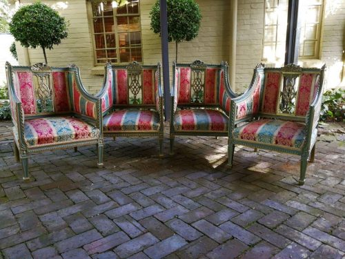 A Magnificent Set Of Four 20th Century French-Style Gilt Armchairs