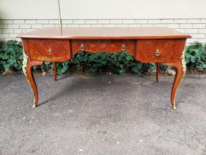 A 20th Century French-Style Bureau Plat Desk With Gilt Metal Mounts