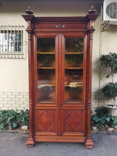 Rare French Oak Bookcase With Original Glass