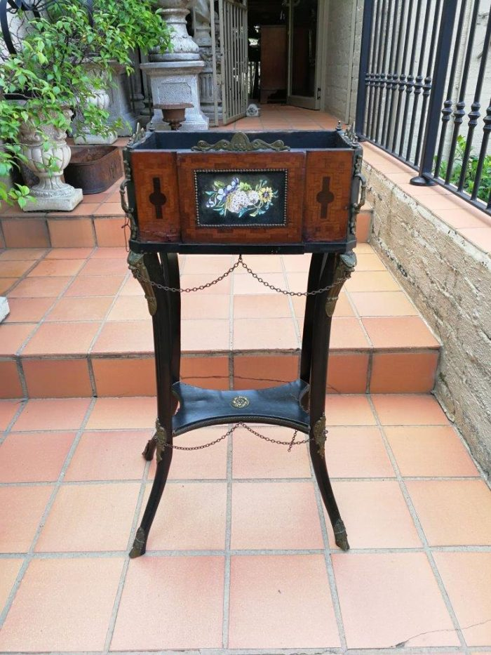 19th Century French Kingswood And Ebonised Planter On Brass Hoof Feet