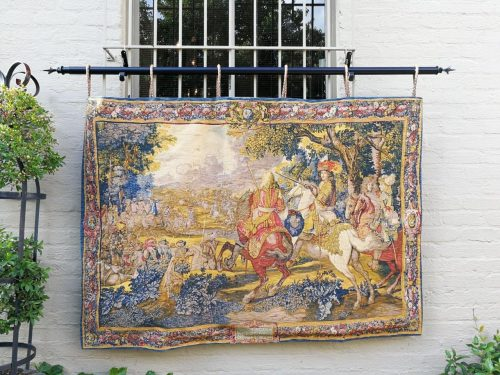 Canal De Bruges - Rambouillet Silk Screened Louis Xiv French Tapestry