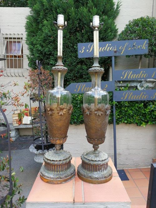 A Pair Of Gilt Metal And Glass Lamps