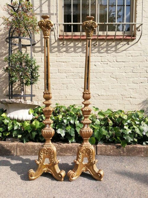 A Pair Of Painted And Mirror Inlaid Candlesticks