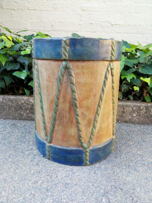A Stone Hand Painted Drum Table