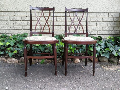 A Fine Pair Of Mahogany And String Inlaid Edwardian Parlour Chairs