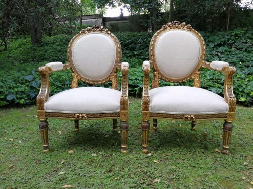 Pair Of Antique Louis XV Style Carved And Gilded Armchairs (Bought In Avignon France) Circa 1890-1900