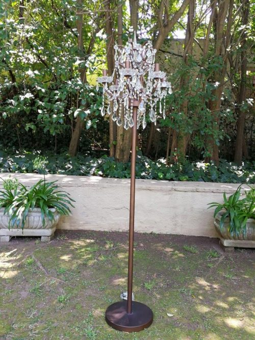 A French Style Wrought Iron And Crystal Standing Lamp