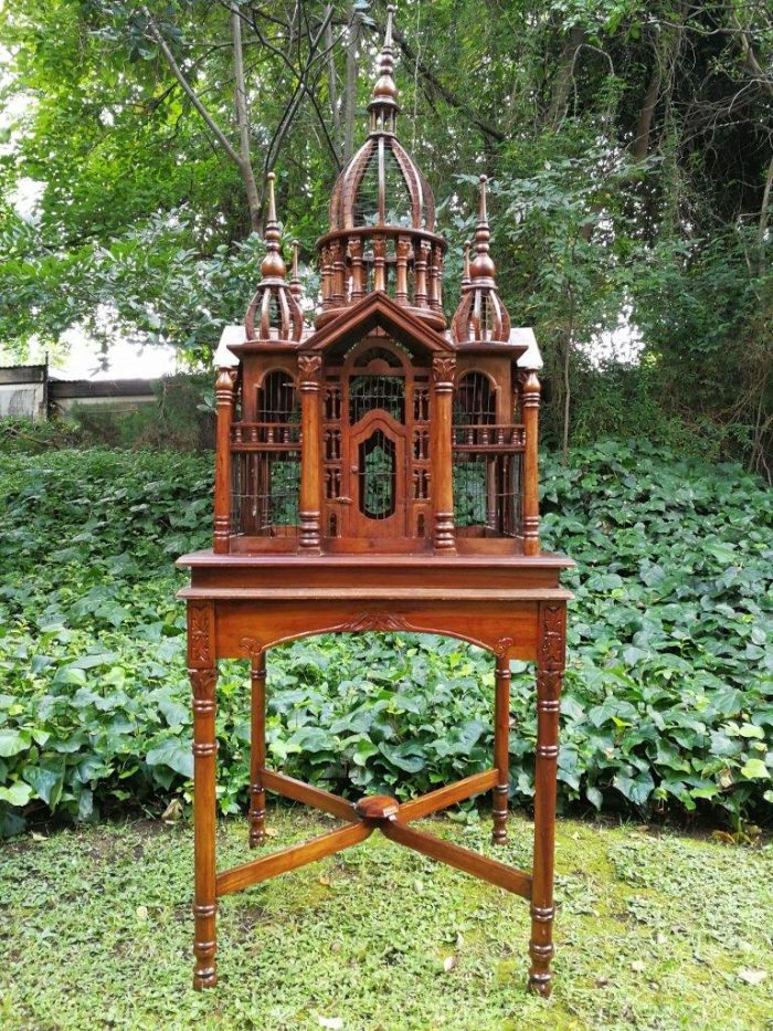Antique Victorian Cathedral Architectural Style Carved Mahogany Bird Cage On Stand