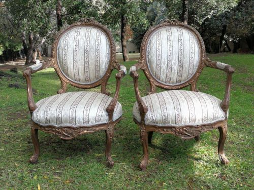 A Pair Of French Gilded Arm Chairs *Still To Be Reupholstered*