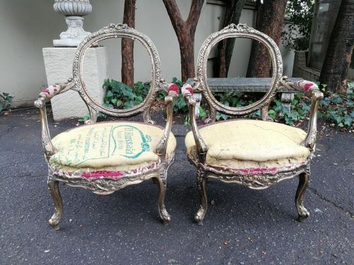 A Pair French Of Gilded Arm Chairs *Still To Be Reupholstered*