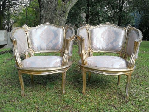 A Pair Of French Bergere Style Gilded Armchairs *Still To Be Reupholstered*