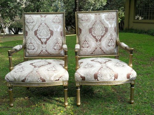 A Pair Of French High-Back Gilded Arm Chairs *Still To Be Reupholstered*