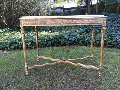 A Gilded Console / Entrance Table With Marble Top