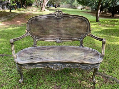 Gilded French Style Rattan Settee