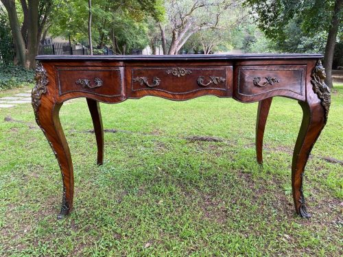 A French Style Plat Desk  With Leather Top And  Ormolu Detail