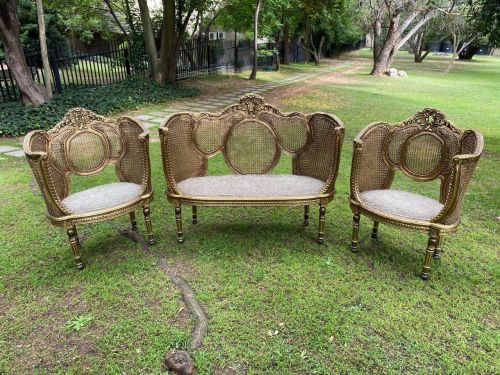 A Set Of Gilded Rattan Bergere Style Settee With Two Chairs (3 Piece) *Still To Be Reupholstered*