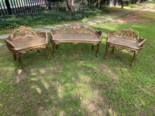 A Set Of Gilded Rattan Settee With Two Chairs (3 Piece)
