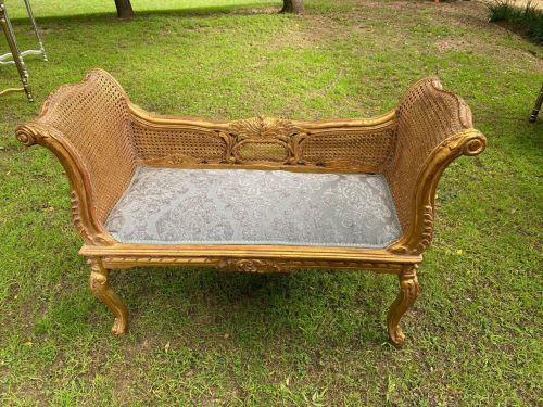 Gilded French Style Rattan Settee *Still To Be Reupholstered*