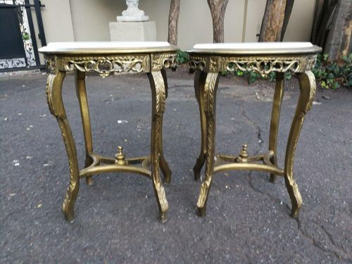 A Pair Of Gilded Occasional Side Tables With Marble Tops
