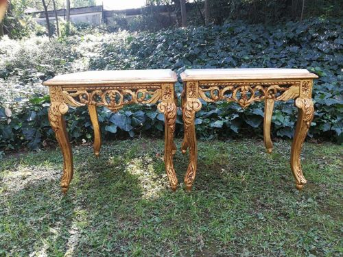 A Pair of Hand Gilded with 22 Karat Gold Leaf Side Tables with cream marble tops