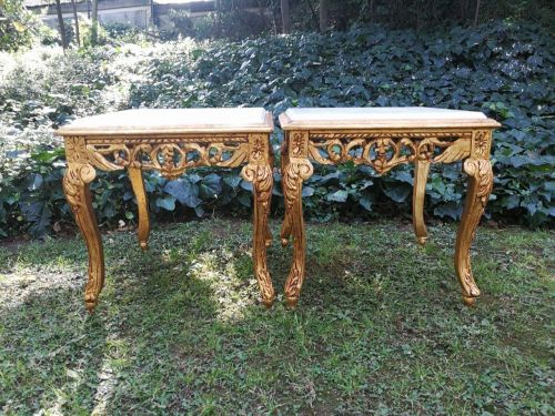 A Pair of Hand Gilded with 22 Karat Gold Leaf Side Tables with marble tops