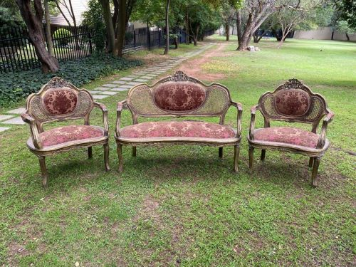 A Three Piece Set Comprising Of A Carved And Gilded Rattan Settee And Two Armchairs *Still To Be Reupholstered*