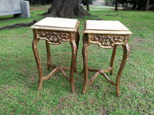 A Pair Of Hand Gilded With 22 Karat Occasional/Side Tables With Marble Tops