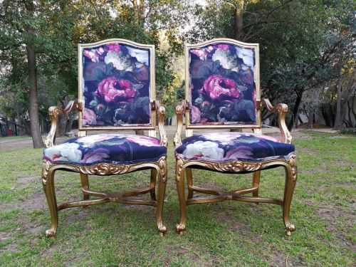 An Antique Pair Of French Carved And Painted Armchairs.Circa 1920s
