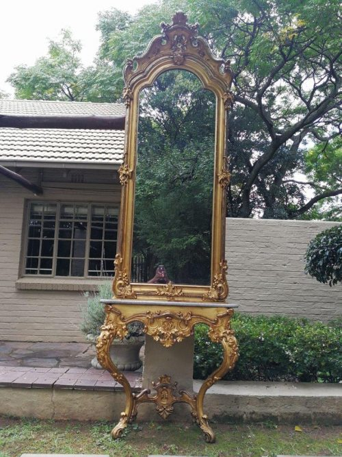 A French gilt console table and mirror with marble top Circa 1900