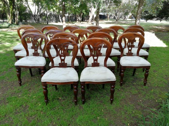 A Victorian style mahogany set of eighteen dining chairs