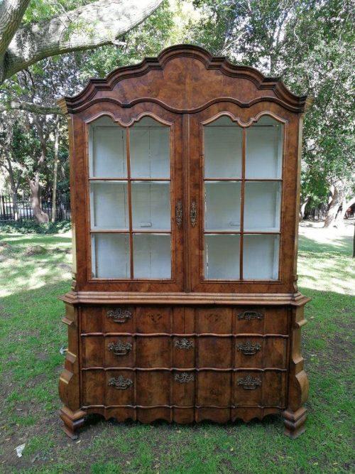 An 18th century/Circa1740 Dutch burr walnut display cabinet