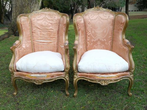 A Pair Of French Style Gilded Armchairs *Still To Be Reupholstered*