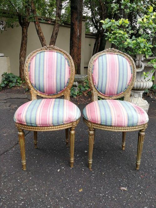A Mid 20th Century Pair Of Giltwood French Style Chairs  *Still To Be Reupholstered*