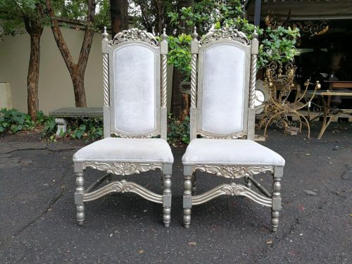 A Pair Of Large High-Back Throne Style Chairs  *Still To Be Reupholstered*