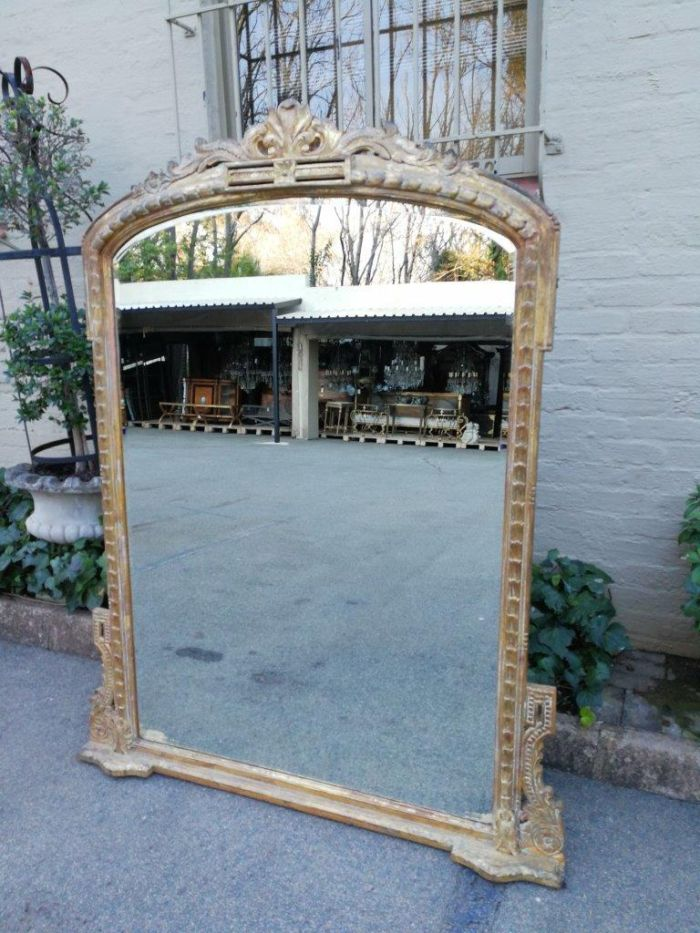 Very Large 20th Century Giltwood And Bevelled Mirror ND