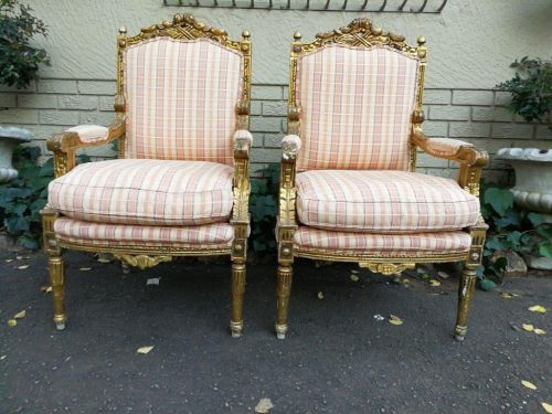 Pair of 19th Century style gilded and carved armchairs Circa 1970